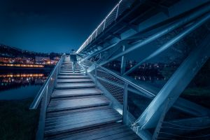 night sky night bridge france lyon construction