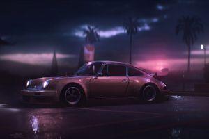 night sports car atmosphere retouching video game art dusk artwork lights porsche 911 carrera rsr 2.8 porsche 911 carrera  palm trees video games wet games art car
