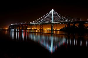 oakland bay bridge photography water dark lights bridge usa landscape night river city reflection city lights calm waters san francisco