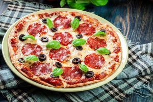 olives food mozzarella salami basil pizza wooden surface