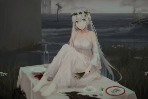 original characters anime girls sea table apocalyptic artwork gray eyes chihuri 45 dress flower crown environment long hair anime white dress illustration