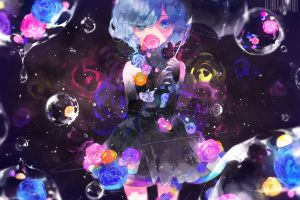 original characters umbrella blue eyes flowers short hair blue hair bubble anime anime girls