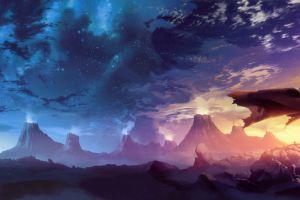 outdoors tengen toppa gurren lagann clouds cape sunset