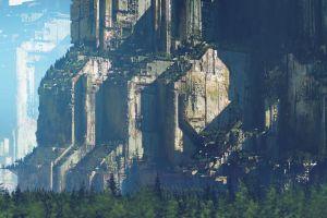 overgrown digital art forest environment giant ruins