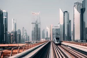 photography dubai railway railroad track building city train cityscape