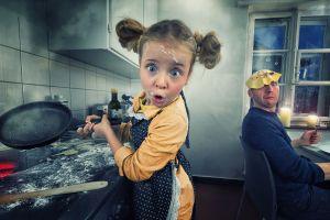 photoshop plates denim wooden spoon burner looking at viewer humor fork pigtails digital art crepes indoors cooking splatter blue eyes smoke