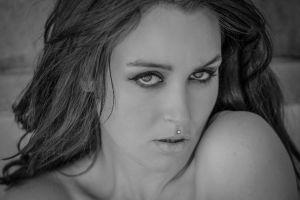 piercing portrait face monochrome women model