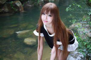 pink lipstick model women women outdoors brunette long hair asian eyeliner xiuren skinny black dress
