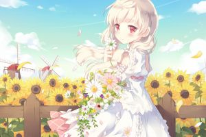 plants red eyes sky flowers sunflowers anime windmill anime girls blonde