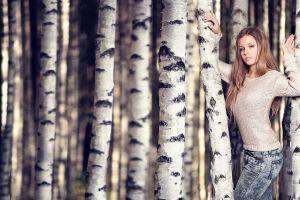plants white sweater long hair brunette trees women sweater women outdoors standing