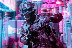 police vaporwave retrowave glitch art ready or not