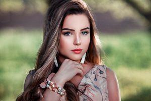 portrait long hair face makeup women depth of field blue eyes