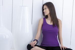 profile purple top model sitting women tank top polish women brunette polish looking away long hair anna