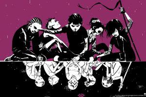 purple background deadly class anime comic art anime girls anime boys