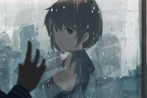 raindrop anime girls reflection