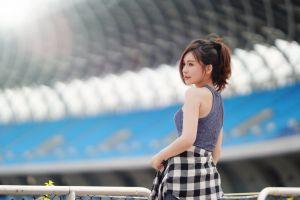 red lipstick brunette women model looking away asian plaid skirt dress women outdoors depth of field stadium outdoors profile