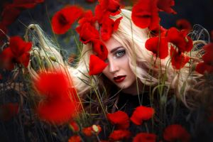 red lipstick colorful women blonde flowers red flowers makeup
