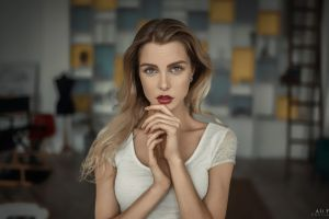 red lipstick long hair dress women indoors depth of field white dress looking at viewer ali falak indoors portrait women blonde model