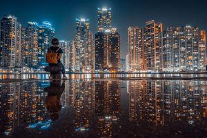 reflection city cityscape lights