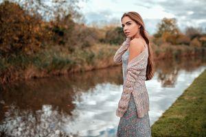 reflection long hair women women outdoors lily gilbert oliver gibbs tattoo river dress looking away portrait