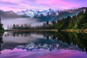 reflection mist landscape water nature mountains purple