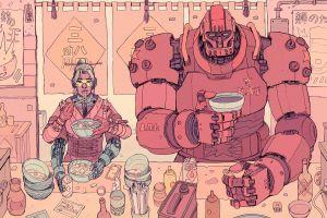 restaurant robot food artwork