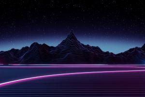 retro style mountains retrowave cyberpunk