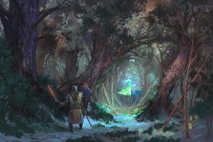 road clothes warrior jeremy adams sheet concept art grass fly women trees men shield sword nature forest
