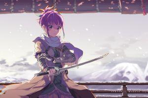 scarf anime girls mountains anime robot girls with swords blue hair katana snow blue eyes