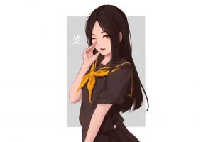 schoolgirl wink artwork white background digital art rectangle portrait sailor uniform anime anime girls black clothing illustration long hair gray brunette