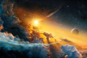 science fiction sky space space art clouds digital art planet