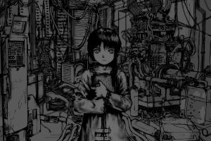 serial experiments lain anime girls monochrome anime anime