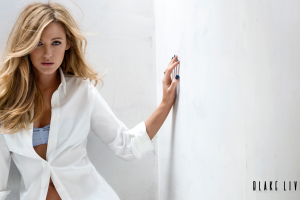 shirt blake lively actress blonde long hair women white shirt