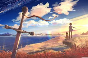 shore drawing anime boys sword painting anime