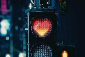sign lights traffic lights heart love urban dark