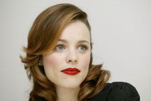 simple background actress rachel mcadams red lipstick women