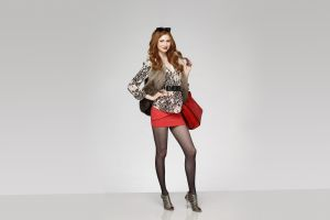 simple background karen gillan high heels skirt pantyhose hands on hips actress redhead