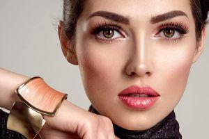 simple background model bracelets makeup women lipstick face