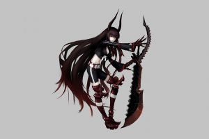 simple background shorts black rock shooter (series) claws belt cleavage horns navels weapon red eyes armor anime girls black gold saw long hair boots