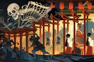 skeleton asia ukiyo-e artwork skull fantasy art bones