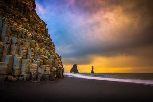 sky coast beach nature rock