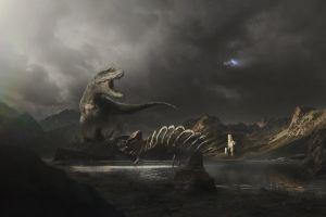 sky prehistoric artwork dark dinosaurs landscape skeleton fantasy art animals