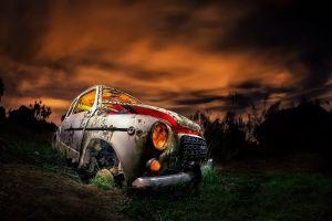 sky vehicle dark car wreck