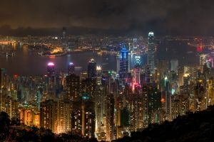 skyline night city hong kong