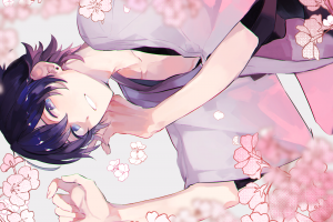 smiling blue hair male cherry blossom lying down