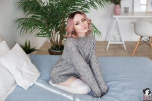 smiling pillow stockings zirael women stretched ears white stockings in bed sweater looking away women indoors kneeling suicide girls pierced septum model