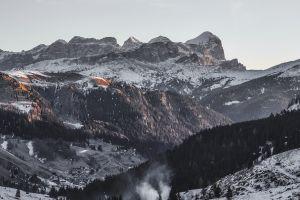 snow trees mountains landscape