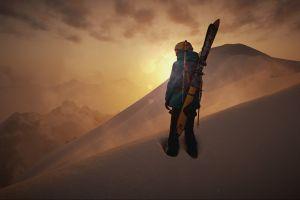 snowboard mountains steep snow screen shot alps