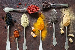 spices food black pepper (spice) colorful spoon