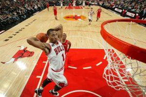 stadium derrick rose chicago bulls dunks basketball